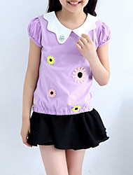 preiswerte -Mädchen T-Shirt Baumwolle Sommer Kurzarm Blumig Purpur Gelb Rosa