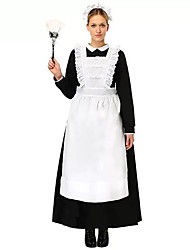 cheap -Maid Costume Outfits Costume Women's Dress Black with White Vintage Cosplay Cotton Long Sleeve Halloween Costumes