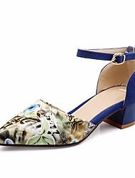 baratos -Mulheres Sapatos Micofibra Sintética PU Primavera Verão Conforto Sandálias Salto Robusto Dedo Apontado Presilha para Casual Preto