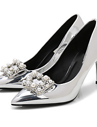 cheap -Women's Shoes Patent Leather Spring / Fall Basic Pump Heels Stiletto Heel Pointed Toe Rhinestone / Imitation Pearl Silver