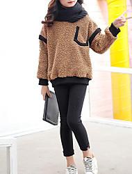 preiswerte -Mädchen T-Shirt Solide Baumwolle Polyester Winter Herbst Kamel