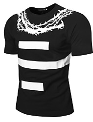cheap -Men's Basic T-shirt - Color Block Black & White, Print