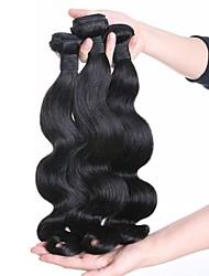 Недорогие -Индийские волосы Волнистый Натуральные волосы Накладки из натуральных волос Ткет человеческих волос Роскошь Расширения человеческих волос Жен.