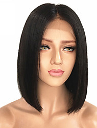 Недорогие -человеческие волосы Remy Необработанные натуральные волосы Лента спереди Парик Малазийские волосы Прямой Черный Парик Стрижка боб Средняя часть 130% Плотность волос / Природные волосы