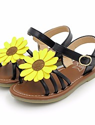 cheap -Girls' Shoes Leatherette Summer Flower Girl Shoes Sandals for Kids Gold / Black / Pink