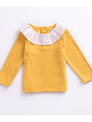 cheap -Girls' Daily Holiday Solid Colored Blouse, Cotton Summer Long Sleeves Cute White Blushing Pink Beige Yellow Royal Blue