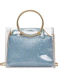 baratos -Mulheres Bolsas PVC Tote Detalhes em Cristal Azul / Dourado / Prata