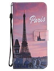 Недорогие -Кейс для Назначение Huawei Mate 10 Mate 10 lite Бумажник для карт Кошелек со стендом Флип Магнитный Чехол Эйфелева башня Твердый Кожа PU