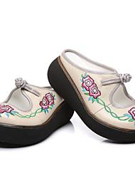 abordables -Femme Chaussures Cuir Printemps Automne Confort Mocassins et Chaussons+D6148 Hauteur de semelle compensée pour Noir Gris Violet