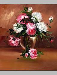 abordables -Pintura al óleo pintada a colgar Pintada a mano - Naturaleza muerta Floral / Botánico Clásico Lona