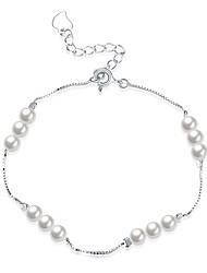 abordables -Femme Perle S925 argent sterling 1pc Chaînes & Bracelets - Mode Forme Géométrique Argent Bracelet Pour Cadeau Quotidien