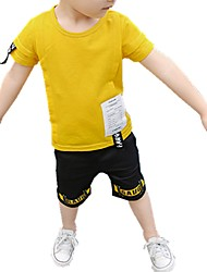 Недорогие -Мальчики Повседневные С принтом Набор одежды, Хлопок Полиэстер Весна Лето С короткими рукавами Очаровательный Белый Черный Желтый
