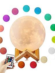 billige Originale lamper-YouOKLight 1set MOON 3D nattlys RGB Usb Fjernstyrt Mulighet for demping Berør sensoren Atmosfære Lampe DC 5 V