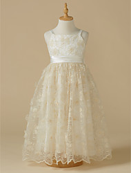 cheap -A-Line Tea Length Flower Girl Dress - Lace Sleeveless Straps with Bow(s) by LAN TING BRIDE®