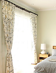 baratos -Cortinas cortinas Sala de Estar Floral Algodão / Poliéster Estampado