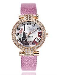 Недорогие -Жен. Кварцевый Имитационная Четырехугольник Часы Нарядные часы Модные часы Китайский Повседневные часы PU Группа Heart Shape Мода Черный