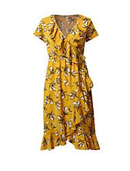 abordables -Femme Vacances Basique Coton Mince Balançoire Robe Fleur Col en V Midi Noir