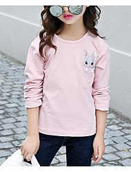 baratos -Para Meninas Camiseta Sólido Primavera Outono Algodão Manga Longa Rosa Azul Marinha