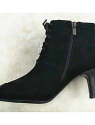 cheap -Women's Shoes Nubuck leather Fall Winter Bootie Comfort Boots Stiletto Heel Booties / Ankle Boots for Casual Black