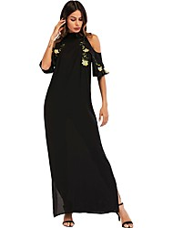 cheap -Women's Basic Boho Sheath Abaya Dress - Solid Colored, Embroidered