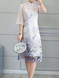 baratos -Mulheres Feriado Moda de Rua Delgado Bainha Vestido Floral Colarinho Chinês Médio