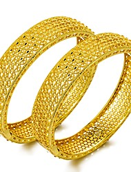 cheap -Women's Hollow Bracelet Bangles - Gold Plated Statement, Ethnic, Chinoiserie Bracelet Gold For Party Gift / 2pcs