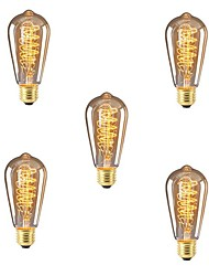 cheap -5pcs 40W E26/E27 ST64 Warm White 2200-2700k K Retro Dimmable Decorative Incandescent Vintage Edison Light Bulb 220-240V