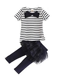 preiswerte -Kinder Baby Mädchen Gestreift Kurzarm Kleidungs Set