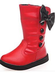 baratos -Para Meninas Sapatos Couro Ecológico Outono / Inverno Botas de Neve Botas para Branco / Preto / Vermelho