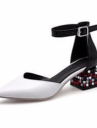 お買い得  -女性用 靴 レザー 春 秋 コンフォートシューズ ヒール チャンキーヒール のために カジュアル ホワイト ブラック レッド