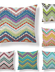 cheap -6 pcs Textile Cotton / Linen Pillow case Pillow Cover, Plaid / Checkered Special Design Printing Artistic Style Geometric