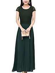 baratos -Mulheres Tamanhos Grandes Moda de Rua Algodão Delgado Chifon / balanço Vestido - Renda, Sólido Médio / Verão