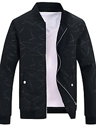 cheap -Men's Casual Jacket-Solid Colored Striped