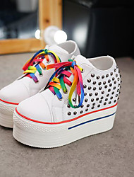 cheap -Women's Shoes Leatherette Spring Fall Comfort Sneakers Creepers Round Toe Beading for Casual White Black