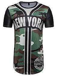 baratos -Homens Camiseta Moda de Rua Estampado, Estampa Colorida Letra camuflagem