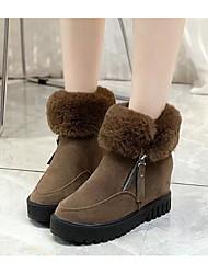 povoljno -Žene Cipele Nubuk koža Zima Čizme za snijeg Čizme Wedge Heel Čizme gležnjače / do gležnja za Kauzalni Crn Žutomrk