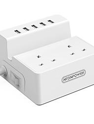Недорогие -NTONPOWER Smart Plug ODC-2A5U-UK-5A-WH для Необычные гаджеты для кухни / Гостиная / Спальня Защита от выключения / Креатив / Безопасность 100-240 V