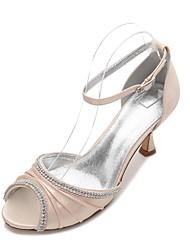 cheap -Women's Shoes Satin Spring / Summer Comfort / D'Orsay & Two-Piece Wedding Shoes Kitten Heel Peep Toe Rhinestone / Sparkling Glitter Dark