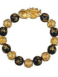 abordables -Homme Note de Musique 1pc Bracelets de rive - Animaux Rétro Noir Bracelet Pour Nouvelle Année Festival