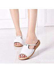 cheap -Women's Shoes Cowhide Summer Comfort Sandals Low Heel for White Black Beige