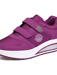 baratos -Mulheres Sapatos Courino Primavera / Outono Conforto Tênis Sem Salto Ponta Redonda Preto / Cinzento / Roxo