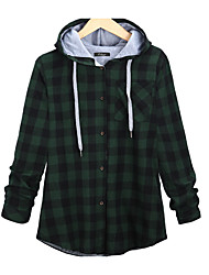 cheap -Women's Plus Size Basic Cotton Hoodie - Plaid Turtleneck / Fall / Winter