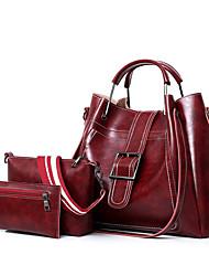 baratos -Mulheres Bolsas PU Leather Conjuntos de saco 3 Pcs Purse Set Botões / Ziper para Compras / Escritório e Carreira Vermelho / Cinzento /