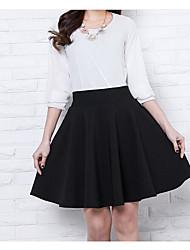 preiswerte -Damen Baumwolle A-Linie Röcke - Solide Gefaltet