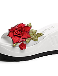 cheap -Women's Shoes PU Spring Comfort Slippers & Flip-Flops Wedge Heel Round Toe Satin Flower for White Black