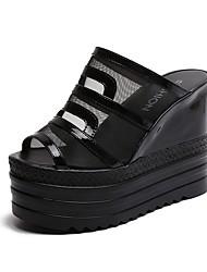 preiswerte -Damen Schuhe Atmungsaktive Mesh PU Frühling Sommer Komfort Sandalen Walking Creepers Runde Zehe für Büro & Karriere Gold Schwarz Silber