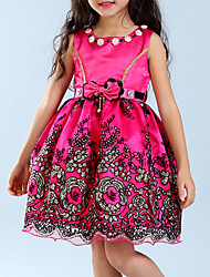cheap -Girl's Going out Solid Dress Summer Sleeveless Bow Fuchsia