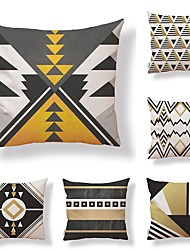 cheap -6 pcs Textile Cotton/Linen Pillow Cover, Geometric Special Design Novelty Classic Style High Quality