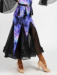 abordables -Danse de Salon Bas Femme Utilisation Coton cristal Soie Glacée Motif / Impression Ruché Taille moyenne Jupes