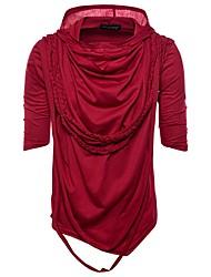 baratos -Homens Camiseta Temática Asiática Sólido Colarinho de Camisa Delgado